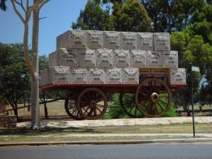cart, laden, branded, wool, bales