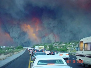big, smoke, fire, rising, highway