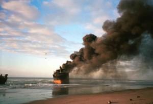 burning, ship