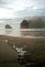 burning, ship, wreck