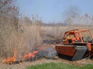 Feuerwehrmann begann, Feuer, groß, Gras, fahren, schwer, verfolgt, Fahrzeug