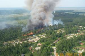 bosque, fuego, acercándose, urbano, asentamientos