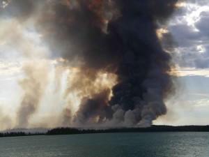 smoke, column, Skilak, lake
