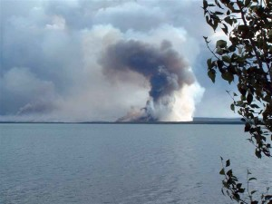 obrázok ukazuje, dym, stúpa, Les, jazero
