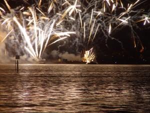 chiatte, lancio, fuochi d'artificio, cigno, fiume