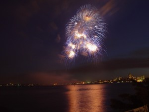 firework, sea