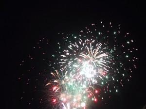 fuochi d'artificio, notte, città