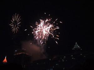 fireworks, skyline