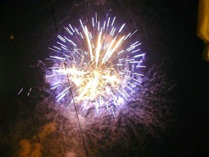 fireworks, blue, sky