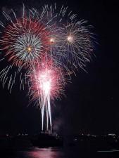 feux d'artifice, San Diego, baie, quatrième, Juillet, ciel, nuit