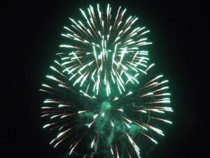 fireworks, green, sparks