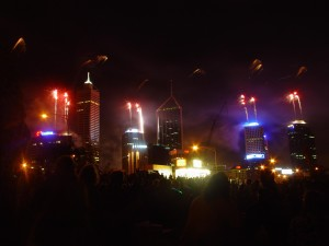fireworks, launched, buildings