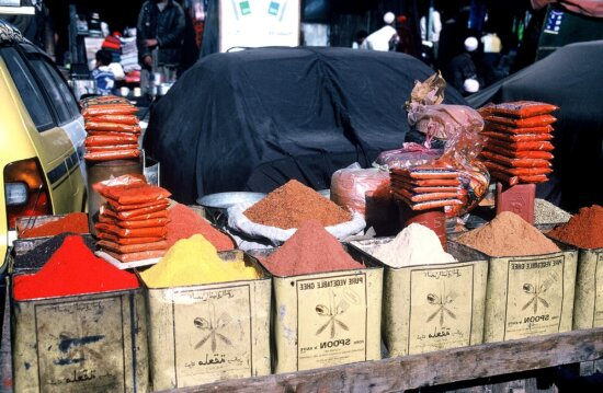 general, Afghanistan, market, scene, display, various, food, products, spices