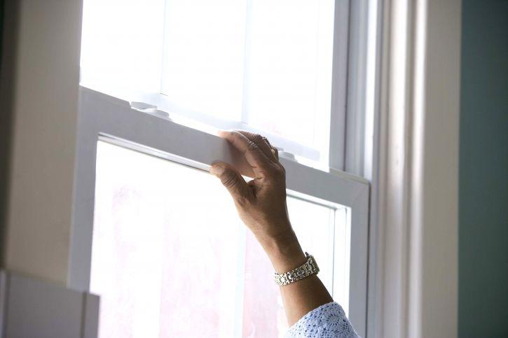 bàn tay, mở ra, cửa sổ