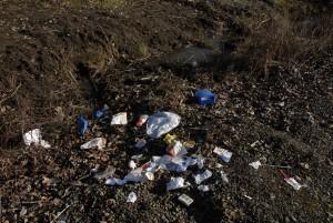 up-close, image, display, trash, scattered, road, side
