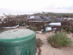 isla, campamento, destruido