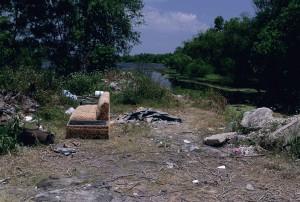 déchets, déversés, lac