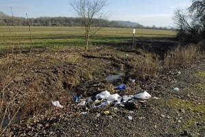 poubelle, dispersés, route, côté
