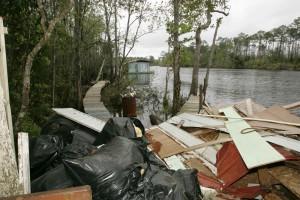 déchets, rivière, principalement, bois, aggloméré