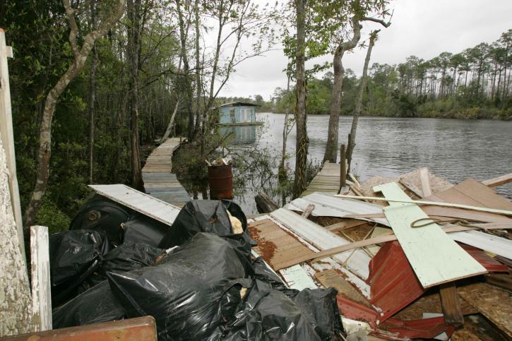 residuos, río, principalmente, madera, tableros de partículas
