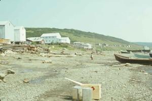 mountain, village, shore