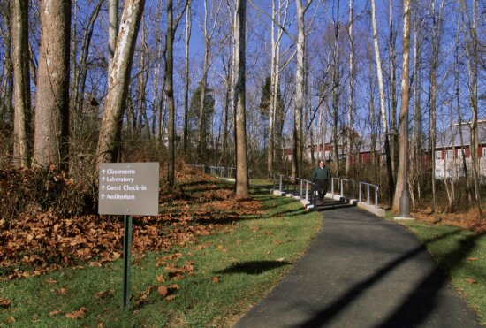 paved, trail, direction, sign, national, conservation, training, center
