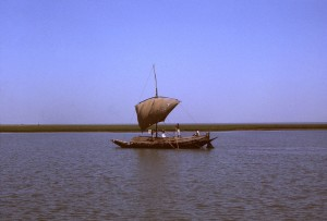 sail, driven, boat, traveling, unidentified, river, country, Bangladesh