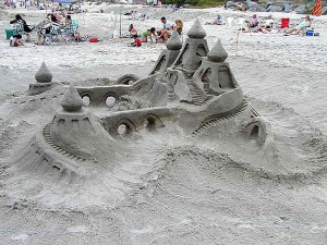 sandcastle, ocean, beach