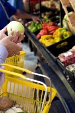 shopper, tenue, vert, tomate