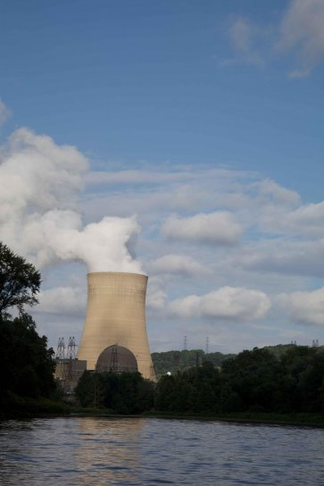smoke, rising, nuclear, power, plant, tower
