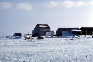 neige, couvert, petit village