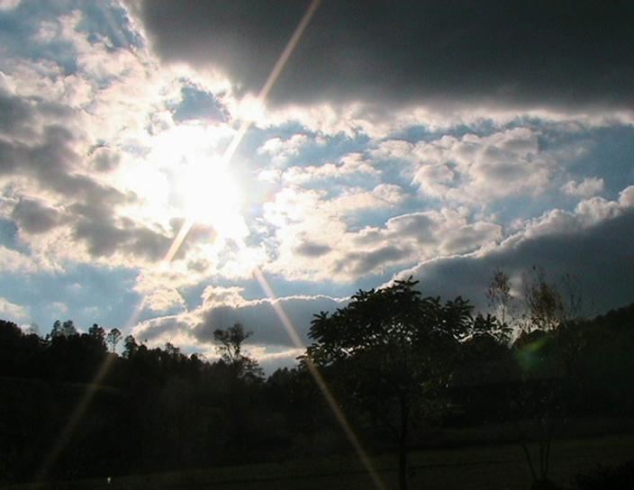 Sunburst, obloha, mraky, počasie, scénické