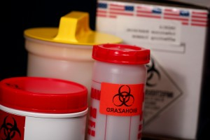 three, cylindrical, shaped, containers, shipment, biohazardous, materials