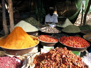divers, épices, herbes, marché, Afrique