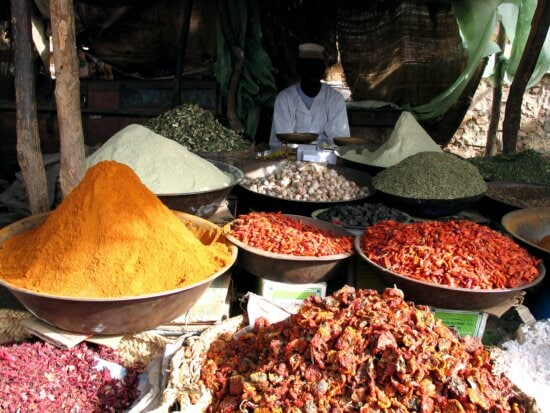 various, spices, herbs, market, Africa