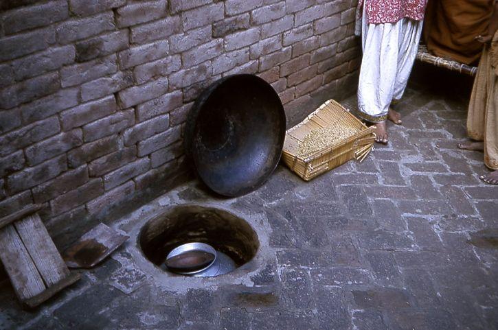 oppvarming, melk, jord, ovn, typisk, landsbyen, liv, stat, Gujarat, India