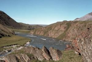 Arctique, désert, refuge, rivière, été