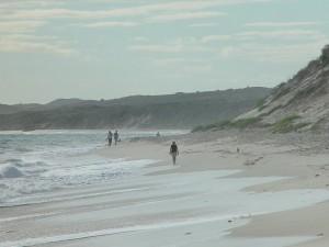 beach, walkers, waves, beach, sand