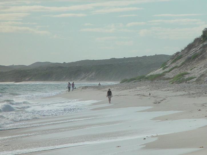 plage, les promeneurs, les vagues, la plage, le sable