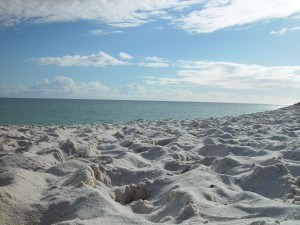 many, footprints, beach