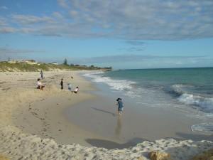 sable, château, eh bien, tas, Wanneroo, plage, face au sud