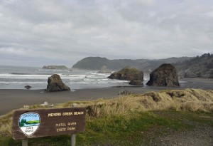 scenic, meyer, creek, beach, state, parks, sign, foreground