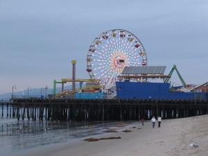 wandelen, Santa, Monica, strand