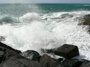 waves, breaking, pier, beach