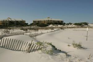 bois, barrière, sable, dunes, zone