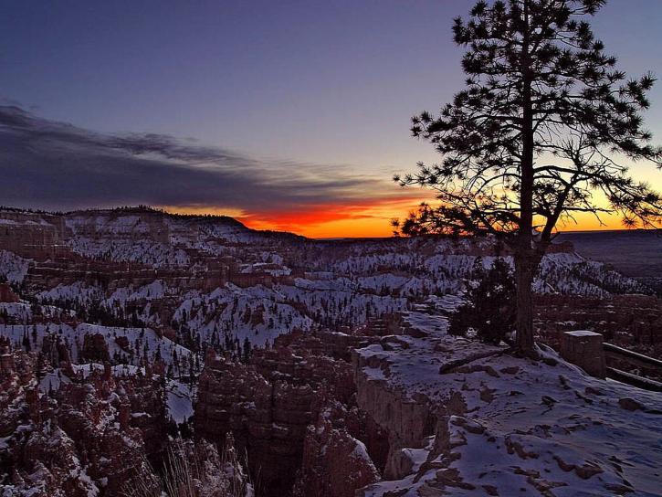 byrce, canyon, levers de soleil, matin, hiver