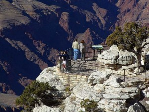 grand, canyons, overlook, railings, pointing