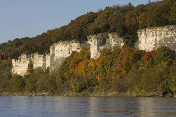limestone, cliffs, autumn, trees
