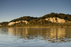 low, limestone, cliffs, river