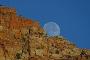 moonrise, cliffs, Zion, scenic, landscape
